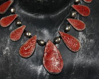 Necklace raku pottery Red