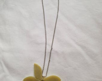 Agate flower necklace in sage green with a Czech  Pressed Glass flower
