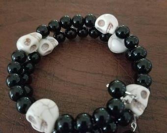Beaded skull wrap bracelet
