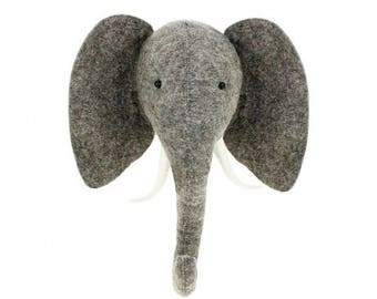 Felt Elephant Head | Stuffed Elephant Head | Kids Room Head | Kids Animal Head