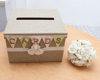 Jute Hessian Neutral Canvas WEDDING CARDS BOX Rustic Shabby Chic Vintage Case Bunting