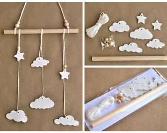 DIY kit wall hanging clouds, Stars and clouds, DIY wall hanging, Wall hanging kit, clay tag kit, how to wall hanging, DIY wall decor