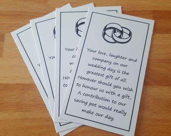 Wedding money poem ring design x 20