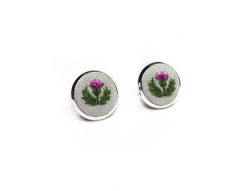 Hand Embroidered Thistle Earrings//Scottish Thistle Silk Embroidery Earring// Silver or Bronze
