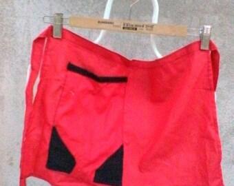 Red and black cotton half apron
