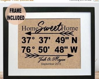 ON SALE Framed Home Sweet Home Gift - Realtor Close Gift  Home Sweet Home Latitude and Longitude Sign New Home Burlap Print New Housewarming