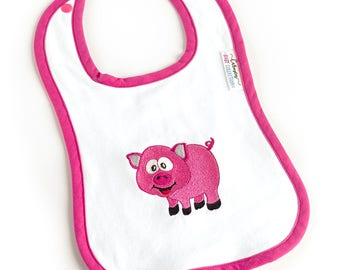 Baby BIB with a pink pig embroidered - Perfect gift for a baby shower - Baby girl BIB - Triple layer BIB