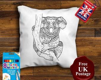 Kolala Bear, Colouring Cushion Cover, with 8 x Fabric Pens