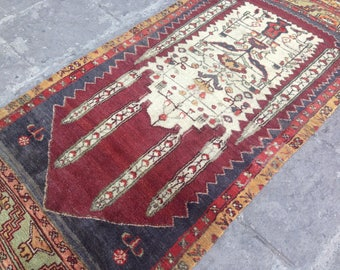 Vintage Rug, Rug, Area Rug, Handmade Rug, Turkish Rug, Tribal Rug, Wool Rug, Bohemian Rug , FREE SHİPPİNG //217 cm x 94 cm  =  7 ft x 3 ft
