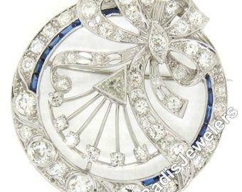 Antique Art Deco Solid Platinum 3.55ctw Old European & Trillion Cut Diamond w/ Synthetic Sapphires Milgrain Wreath Circle Bow Brooch Pendant