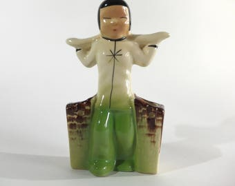 Vintage Asian Inspired Pottery Planter, Boy with Yoke