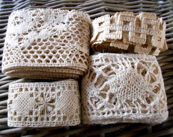 French Antique Lace Lot Fine laces Surprise bundle Assortment french lace Tiny lace Trims and Notions for Baby Doll Bear Clothes