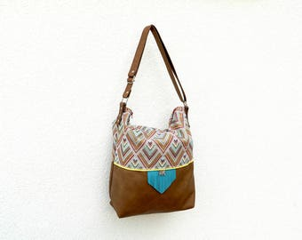 Camel & turquoise Tote