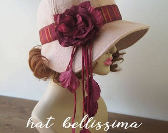 SALE  1920's  Hat Vintage Style hat winter Hats hatbellissima ladies hats millinery hats cloche Hats wool hats Hats with a Brooch