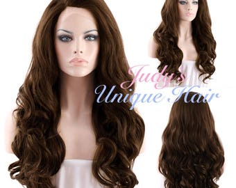 Long Curly Wavy 2 Tone Brown Lace Front Wig Heat Resistant