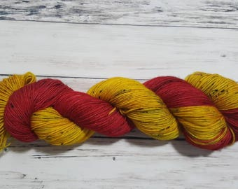 Classic Canadian Tractor Inspired Variegated-Hand dyed sock yarn, Fingering Weight Socks, Shawls and Accessories-Orpiment Realgar-Pre-order