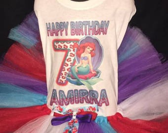 Princess Ariel/ Little Mermaid Custom Tutu Set With Matching Hair Bow