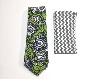 Floral Tie, Men's Necktie, Pocket Square, Navy tie, Floral Pattern, Wedding Accessory, Cotton necktie, Suit Accessory, Menswear accessory
