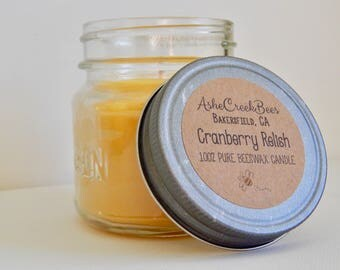 Cranberry Relish Scented 100% Pure Filtered Beeswax Candle