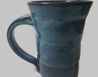 Wheel thrown pottery mug, ceramic mug, blue glaze, coffee mug, tea cup, pottery mug, stoneware mug, handmade mug