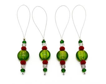 Red and Green Christmas Ornaments - Beaded Christmas Ornaments - Window Ornament - Xmas Tree Decorations - Glass Sun Catcher - Ornament Set