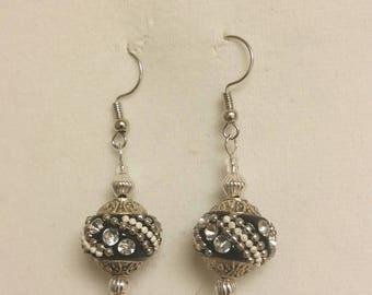 Indonesian clay bead earrings