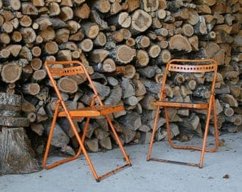 "Pair of outdoor folding chairs ""industrial"" 60s vintage"