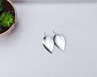 Metallic Silver Leather Earrings