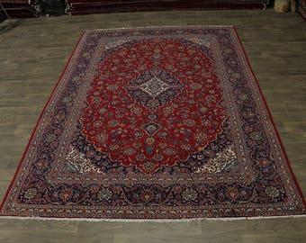 Great Shape Handmade Traditional Kashan Persian Area Rug Oriental Carpet 9X13