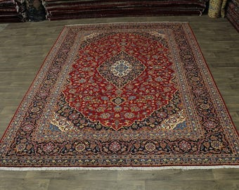 S Antique Traditional Handmade Red Kashan Persian Area Rug Oriental Carpet 10X13