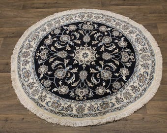 Excellent Round Ivory Navy Nain Kashmar Persia Area Rug Oriental Carpet 5X5