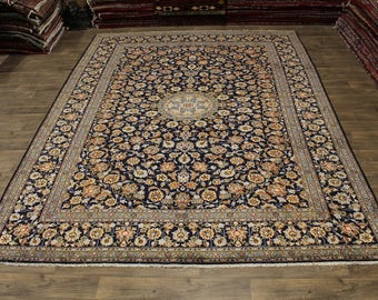 Stunning Traditional Navy Blue Kashan Persian Oriental Area Rug Carpet 10X13