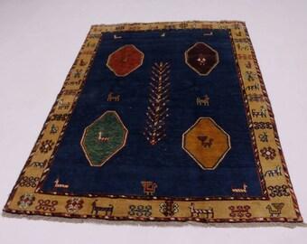 Fantastic Modern Animal Tribal Gabbeh Persian Wool Rug Oriental Area Carpet 5X7