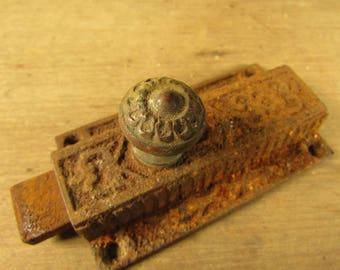 Cast Iron Dead Bolt Door Latch End Eastlake Victorian Era House Part Brass Knob