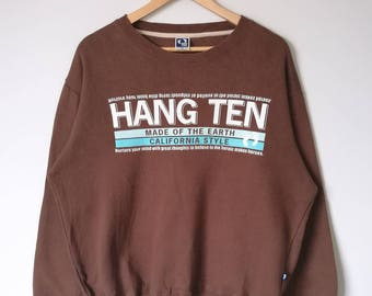 Vintage Hang Ten Big Logo Spell Out Jumper Sweatshirt Hang Ten Tee Shirt Jacket Streetwear Activewear Medium Size