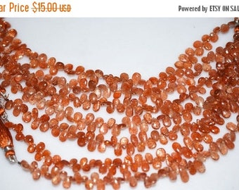 "50% OFF 1 Strand Sunstone Smooth Pear Drop Beads-Sunstone Pear Shape Briolette, 4 x 5 - 5.50 x 9 mm, 8"", BL050"