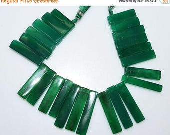 "50% OFF 1 Strand Beautiful Green Onyx Drilled Stick Beads - Green Onyx Elongated Stick Beads , 12x6 - 35x7 mm , 7"" - BL2378A"