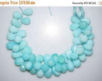 50% OFF Beautiful Natural Peruvian Blue Opal Tear Drop Faceted Briolette - Peruvian Blue Opal Beads , 13x9.5 - 17x10 mm , BL816