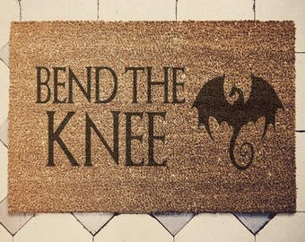 "Game of Thrones inspired doormat coconut "" Bend the knee "" door mat danerys"