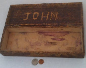Vintage Wooden Box With the Name John Made Into It, So If you Are John, or Know a John, This Might Be for You, 12 x 4 x 2 1/2