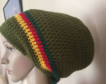 Crochet large Rasta hat in olive green red gold and green