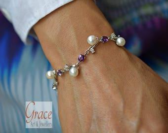 Elegant Fresh Water Pearl Bracelet 6mm, Authentic Fresh Water Pearl Bracelet, Amethyst Sterling Silver Adjustable Bracelet, Jewellery Gift