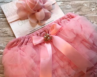 Shabby & Chic Pink Baby Headband and Ruffle Pink Bum Bloomers