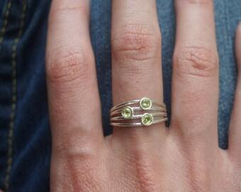 Peridot Ring, Sterling Silver Gemstone Ring, Tiny Gemstone Ring, Silver Gemstone Ring, Minimalist Silver Ring, Peridot Jewelry