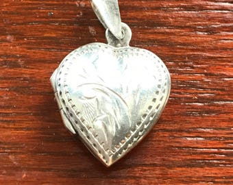 Sterling Silver Vintage Heart Locket Necklace
