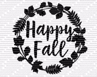 Happy, Fall, SVG, wreath, vector, silhouette, cut, file, decal, design, leaves, autumn, thanksgiving, sign, clipart, hand drawn, written