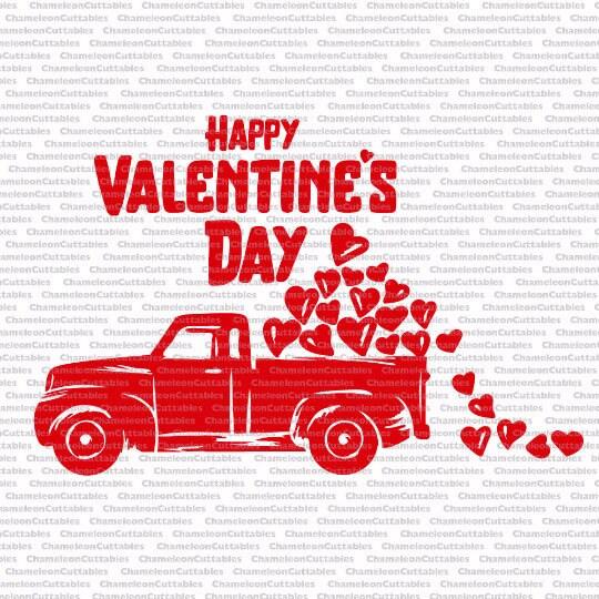 Happy Valentine's Day Truck, svg, love, red truck, hearts ...