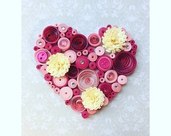 Handmade heart shaped qulling art decor gift