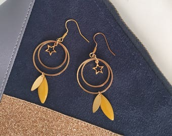 Stars - yellow Sequin earrings mustard and gold