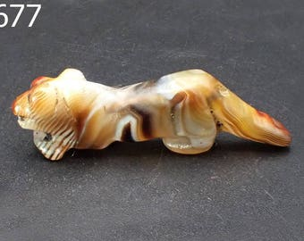 Antique PYU Style Natural Agate Hand Carved Bead Tiger Handmade #6677